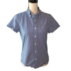 HOLLISTER Gingham Casual Button Down Blue/White S
